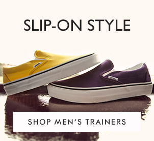 mens slip on Vans in yellow and purple