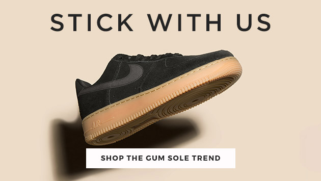 shop our range of gum sole trainers including the Nike Air Force 1 at schuh