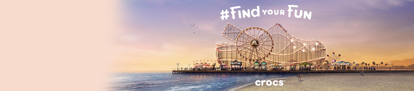 crocs brand page header for schuh 2016 funfair on beach