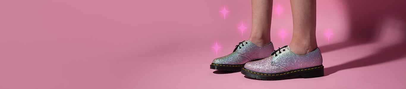 check out our range of women's flats at schuh including the dr martens rainbow glitter 1461 shoe