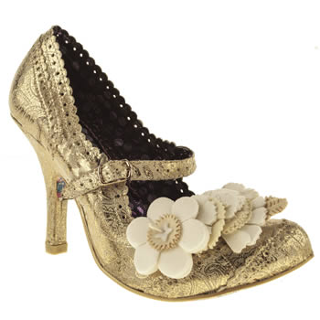 womens irregular choice gold cortesan floral bar court high heels
