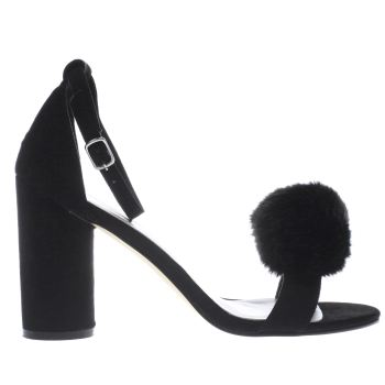 Schuh Black Fluffy High Heels