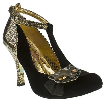 womens irregular choice black & gold bloxy simba t-bar court high heels