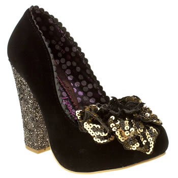womens irregular choice black lola antique rose court high heels