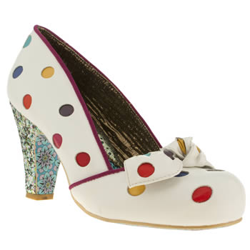 womens irregular choice white & red spot the dot high heels