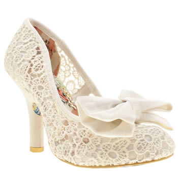 Womens Irregular Choice Stone Mal E Bow Crochet High Heels