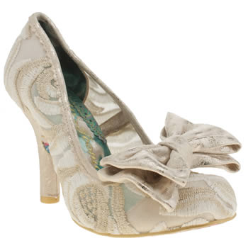 Irregular Choice White & Gold Mal E Bow High Heels