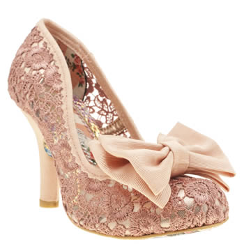 Womens Irregular Choice Pale Pink Mal E Bow Crochet High Heels