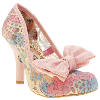 Womens Irregular Choice Multi Mal E Bow Crochet High Heels