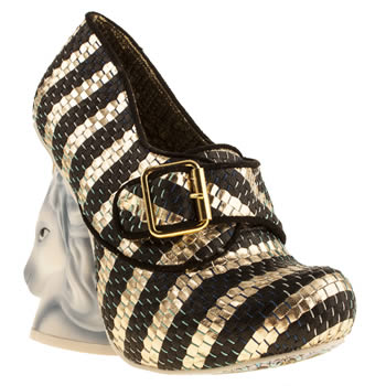 womens irregular choice black & gold eternal full of grace unicorn high heels
