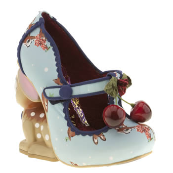 womens irregular choice pl blue & red cherry deer court high heels