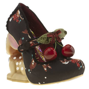womens irregular choice black & red cherry deer court high heels