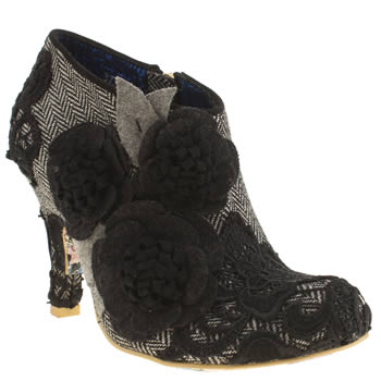 Womens Irregular Choice Black & White Cheeky Moose Tweed High Heels