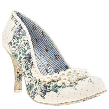 Womens Irregular Choice White & Blue Pearly Girly Floral High Heels