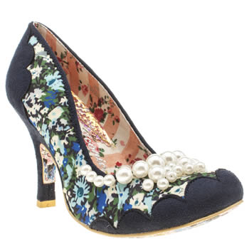 Womens Irregular Choice Navy & Pl Blue Pearly Girly Floral High Heels