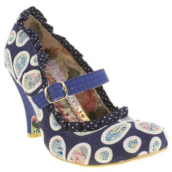 Womens Irregular Choice Navy & Pl Blue Petal Fever High Heels