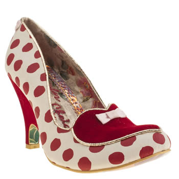 Irregular Choice White & Red Dotty Love High Heels