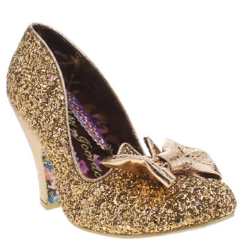 Womens Irregular Choice Gold Nick Of Time Glitter High Heels