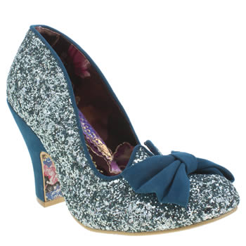 Womens Irregular Choice Turquoise Nick Of Time Glitter High Heels