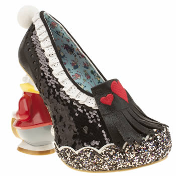 Irregular Choice Black Alice White Rabbit Womens High Heels
