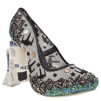 Irregular Choice Silver & Black Battle With Artoo High Heels