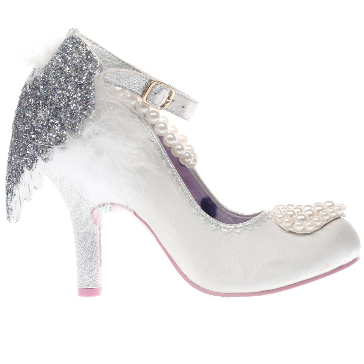 irregular choice white & silver eros high heels