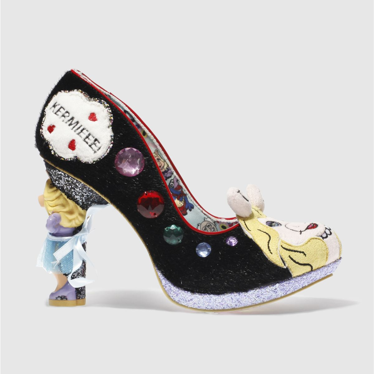 irregular choice black & purple disney muppets supercouple high heels