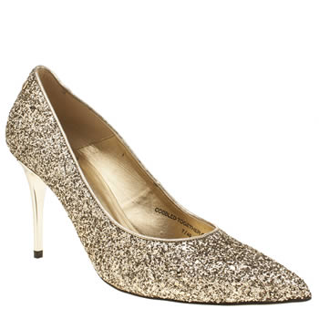 Red Or Dead Gold Raquel Glitter Womens High Heels