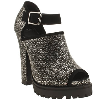 Shellys Silver & Black Acywen High Heels