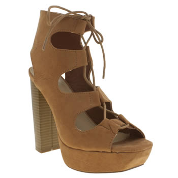 Missguided Tan Ghillie Lace High Heels