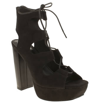 Missguided Black Ghillie Lace High Heels