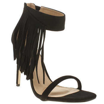 Missguided Black Asymmetric Tassle High Heels