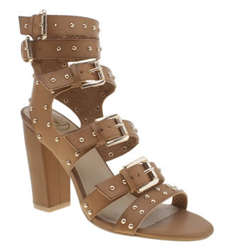 Missguided Tan Buckle Gladiator High Heels