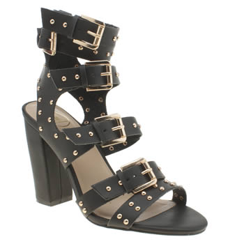 Missguided Black Buckle Gladiator Womens High Heels