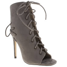 Missguided Grey Cut Out Peep Toe High Heels