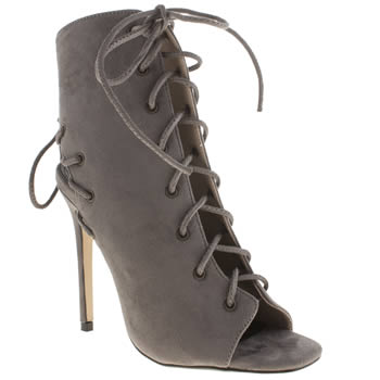 Missguided Grey Cut Out Peep Toe Womens High Heels