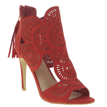 Missguided Red Laser Cut Out Womens High Heels