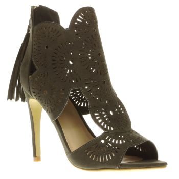 Missguided Khaki Laser Cut Out Womens High Heels