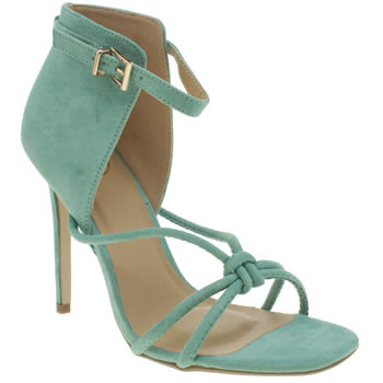 Missguided Turquoise Knotted Vamp High Heels