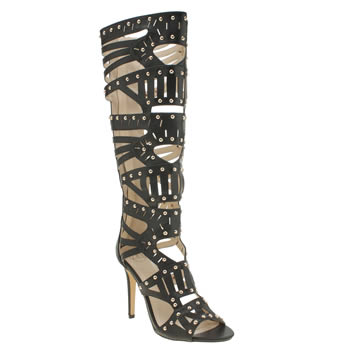 Missguided Black Studded Gladiator High Heels