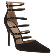 Missguided Black Buckle Up Court Womens High Heels