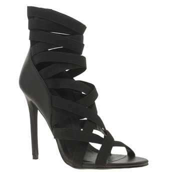 Missguided Black Elastic Strap Gladiator High Heels