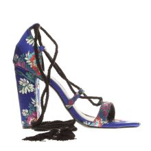 Missguided Blue Lace Up Tassel Womens High Heels