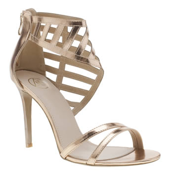Missguided Rose Gold Laser Cut Asymetric High Heels