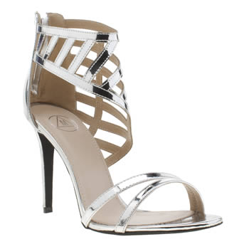 Missguided Silver Laser Cut Asymetric High Heels