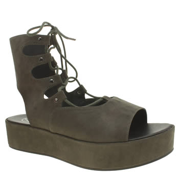 Missguided Khaki Flat Form Up Womens Sandals