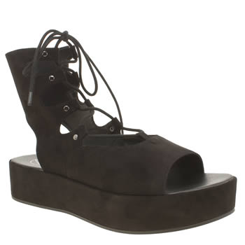 Missguided Black Flatform Up Womens Sandals