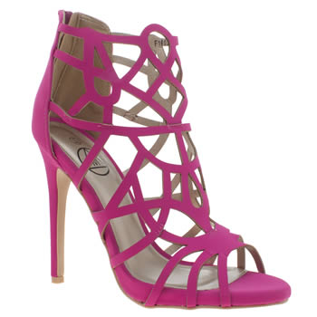 Missguided Pink Laser Cut Gladiator Womens High Heels