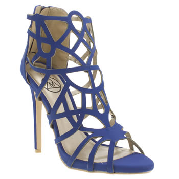 Missguided Blue Laser Cut Gladiator Womens High Heels