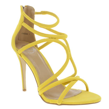 Missguided Yellow Rounded Strap High Heels